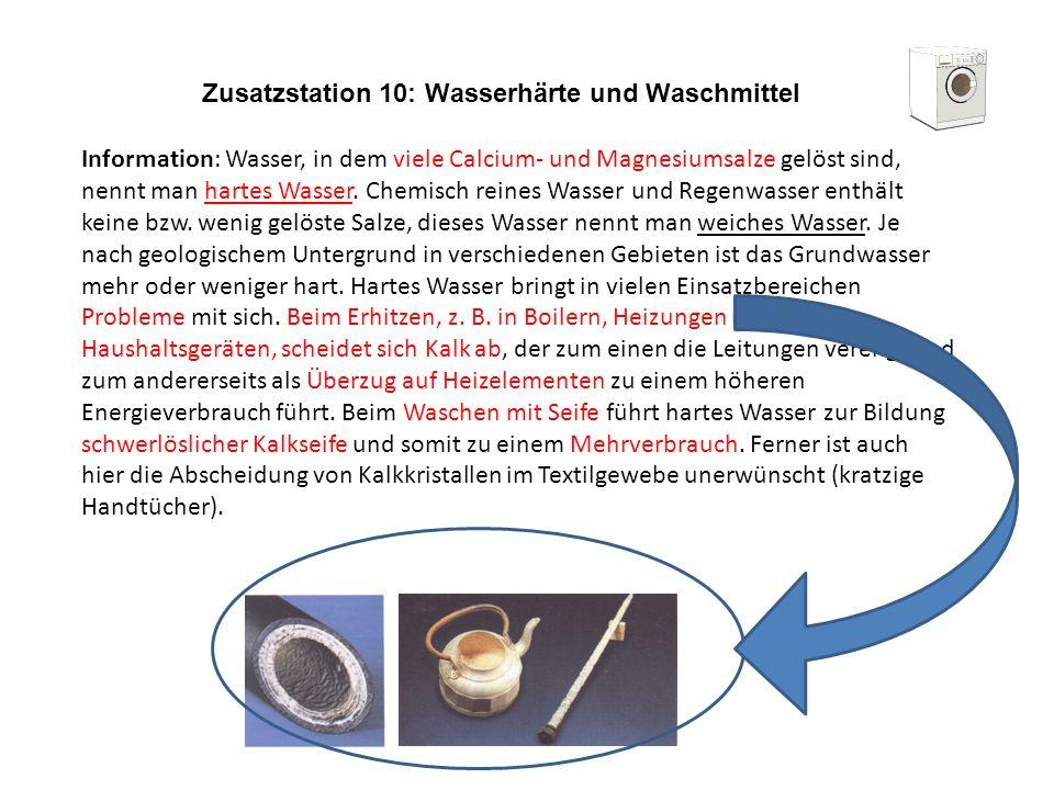 Zusatzstation 10: Wasserhärte und Waschmittel