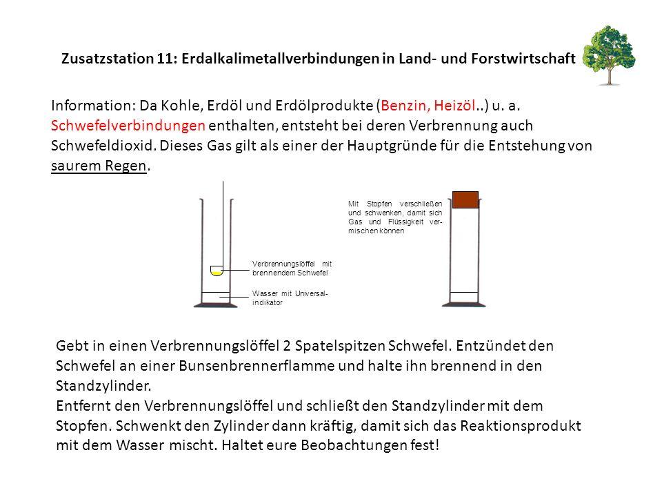 Zusatzstation 11: Erdalkalimetallverbindungen in Land- und Forstwirtschaft
