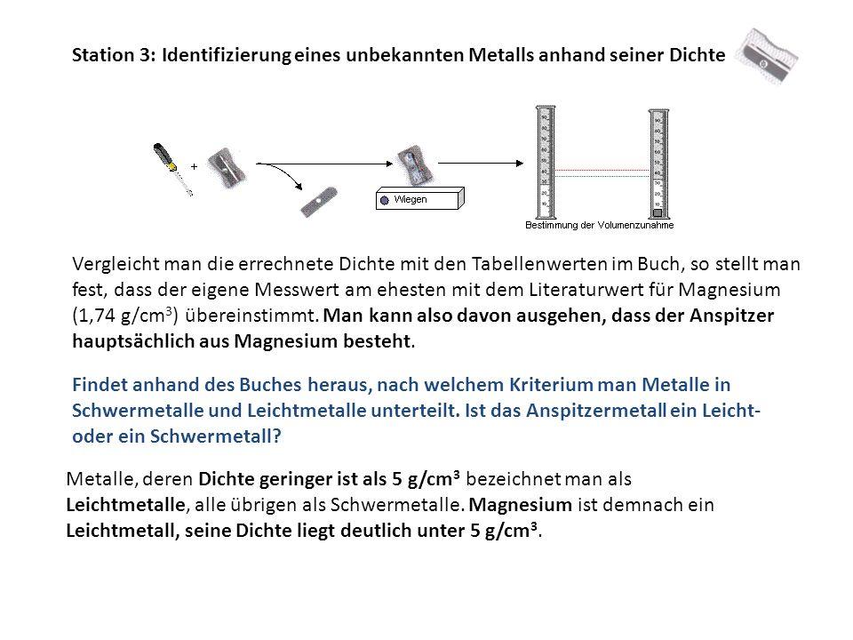 Station 3: Identifizierung eines unbekannten Metalls anhand seiner Dichte