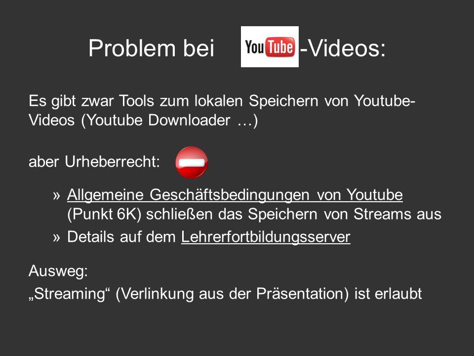 Problem bei -Videos: Es gibt zwar Tools zum lokalen Speichern von Youtube-Videos (Youtube Downloader …)
