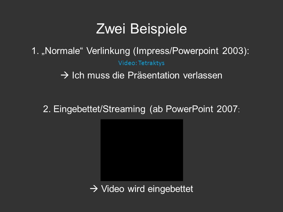 """Zwei Beispiele 1. """"Normale Verlinkung (Impress/Powerpoint 2003):"""