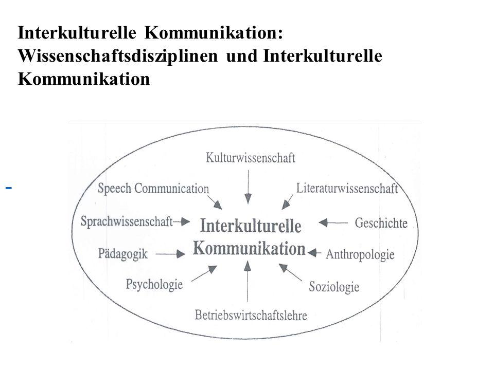 Interkulturelle Kommunikation: Wissenschaftsdisziplinen und Interkulturelle Kommunikation