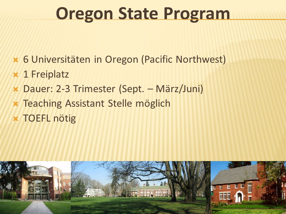 Oregon State Program 6 Universitäten in Oregon (Pacific Northwest)