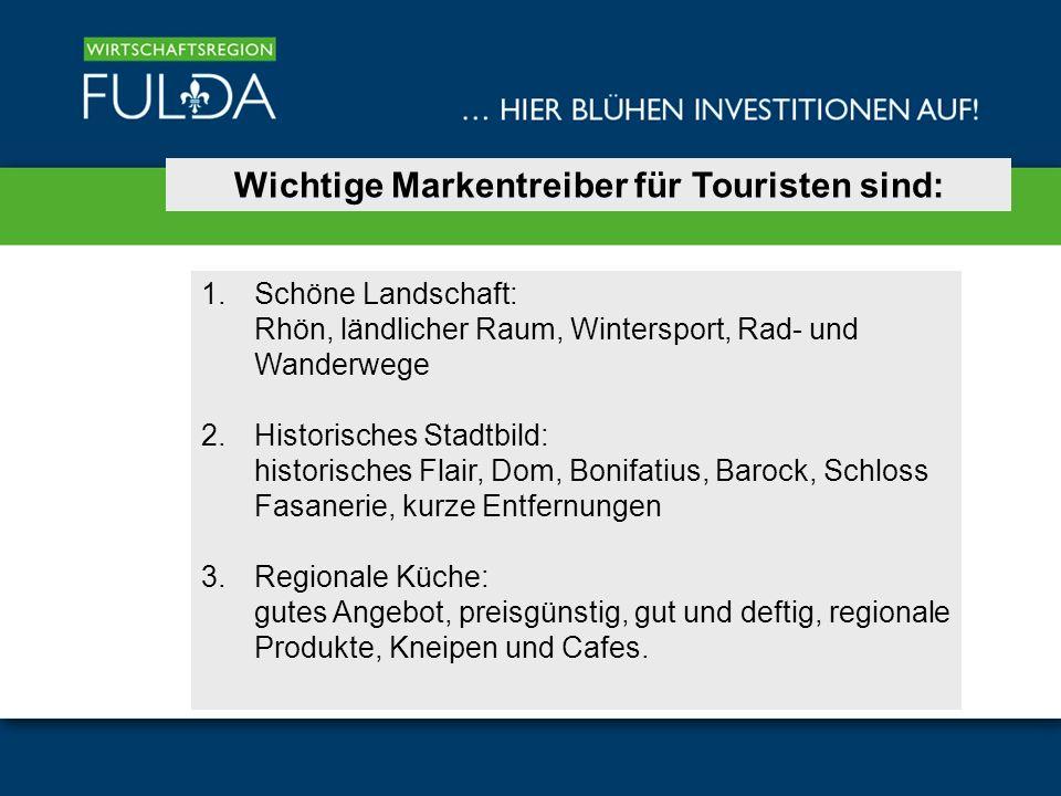 Wichtige Markentreiber für Touristen sind: