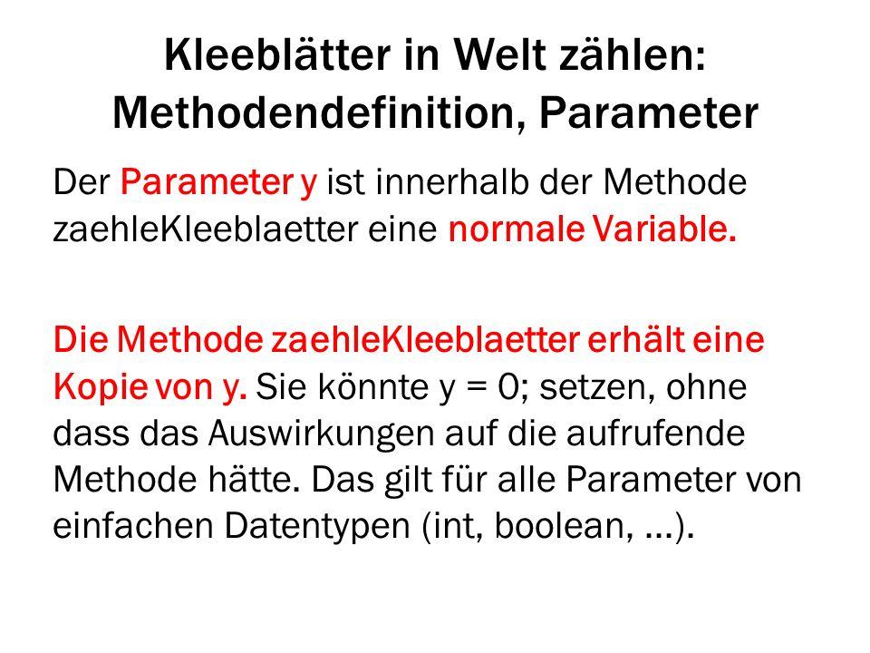 Kleeblätter in Welt zählen: Methodendefinition, Parameter