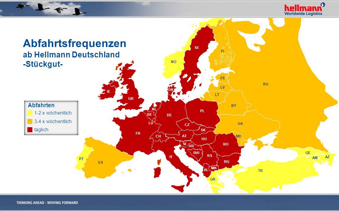 Abfahrtsfrequenzen ab Hellmann Deutschland -Stückgut-
