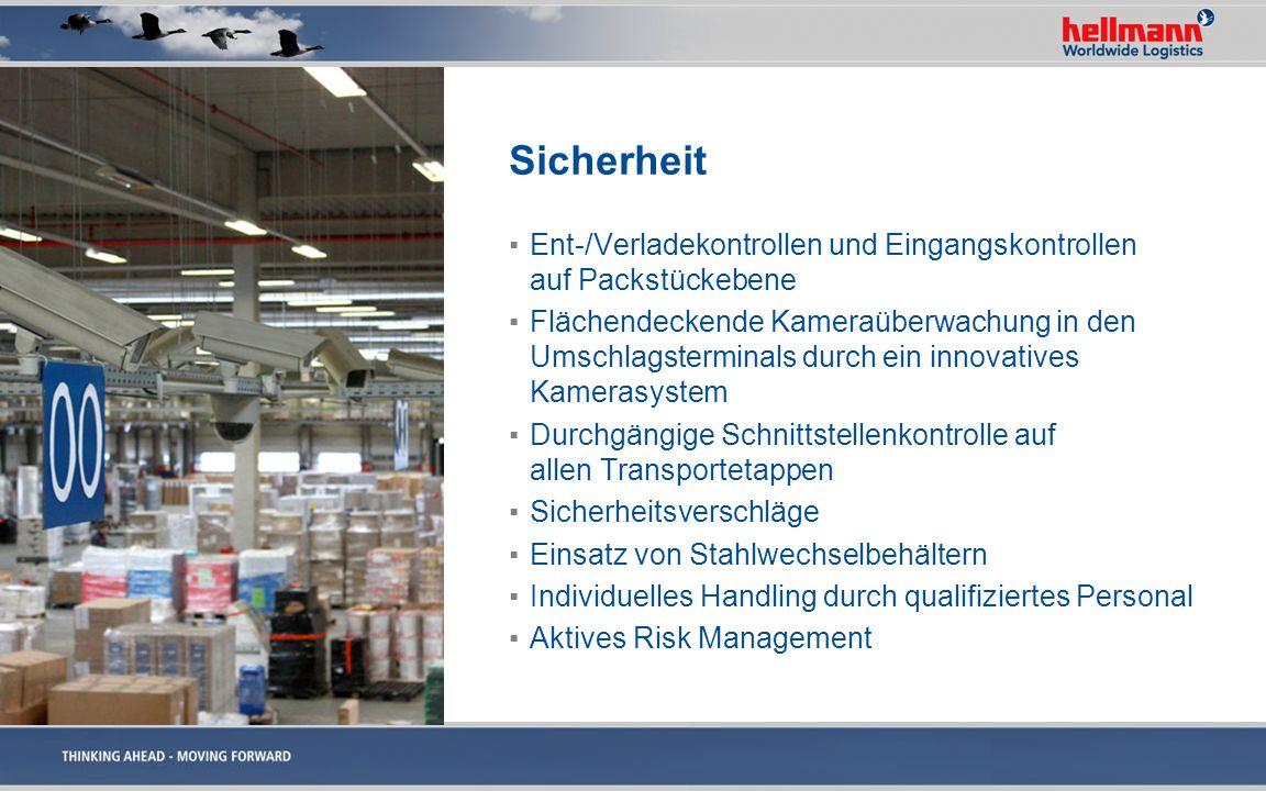 Sicherheit Ent-/Verladekontrollen und Eingangskontrollen auf Packstückebene.
