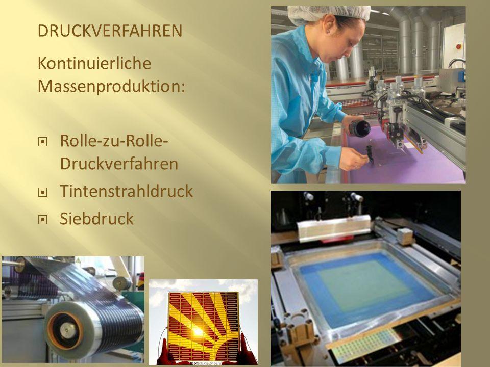DRUCKVERFAHREN Kontinuierliche Massenproduktion: Rolle-zu-Rolle-Druckverfahren. Tintenstrahldruck.