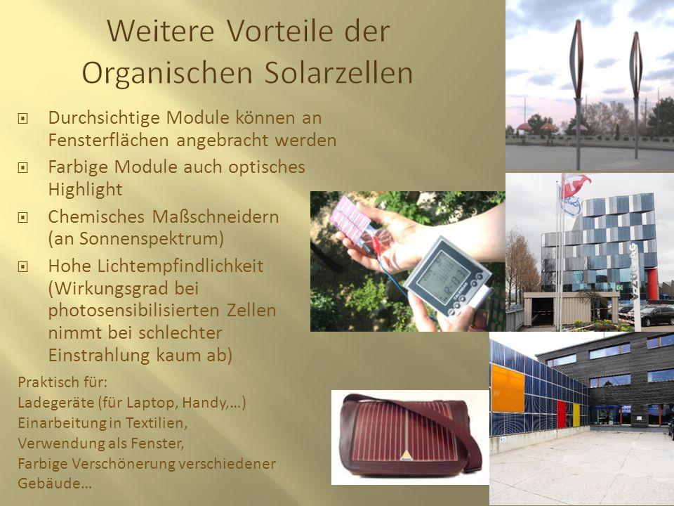Weitere Vorteile der Organischen Solarzellen