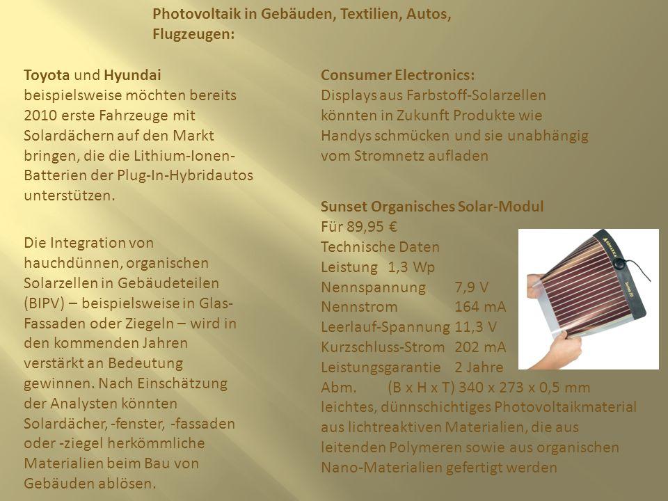 Photovoltaik in Gebäuden, Textilien, Autos, Flugzeugen: