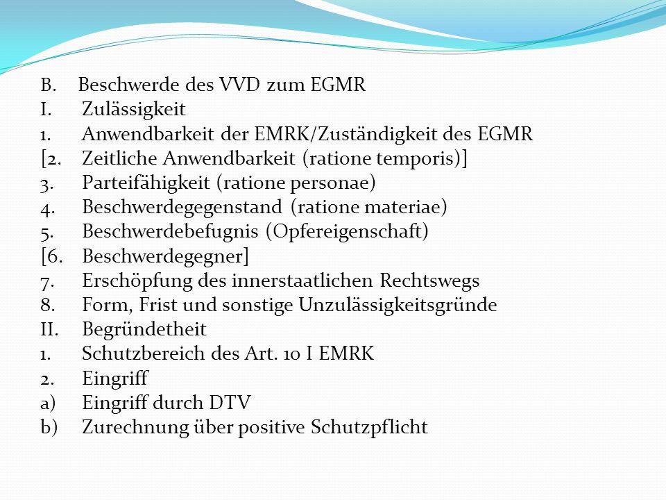 Beschwerde des VVD zum EGMR