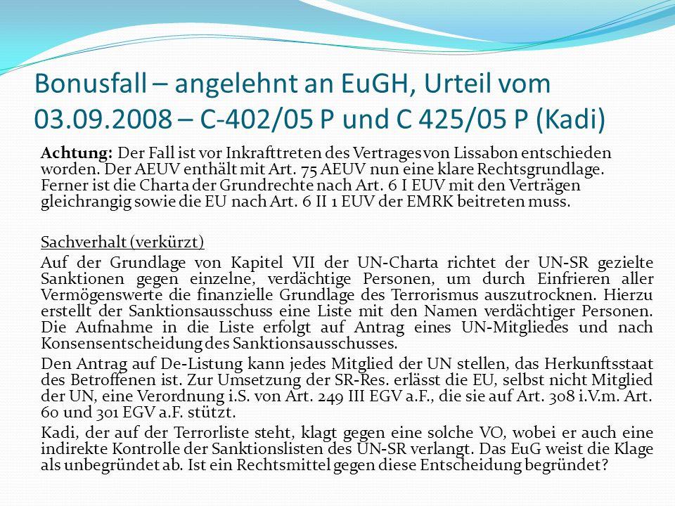 Bonusfall – angelehnt an EuGH, Urteil vom 03. 09