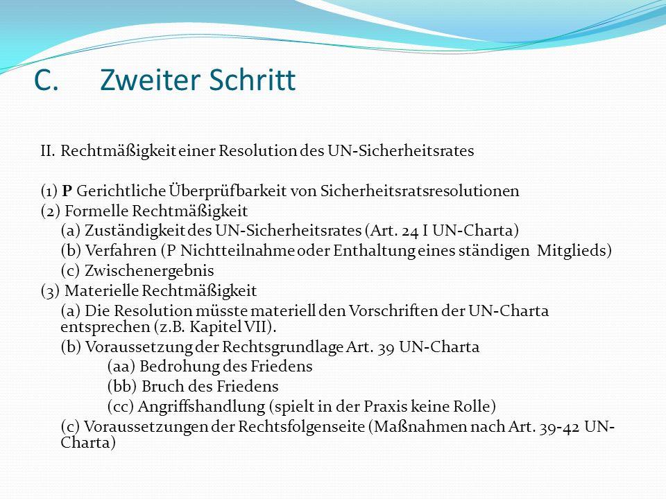 C. Zweiter SchrittII. Rechtmäßigkeit einer Resolution des UN-Sicherheitsrates. (1) P Gerichtliche Überprüfbarkeit von Sicherheitsratsresolutionen.