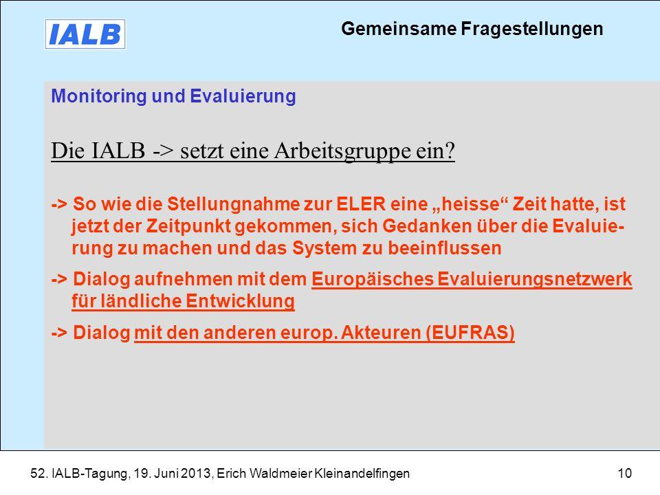 Die IALB -> setzt eine Arbeitsgruppe ein
