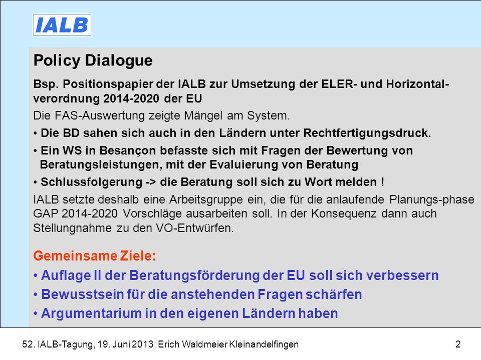 Policy Dialogue Gemeinsame Ziele: