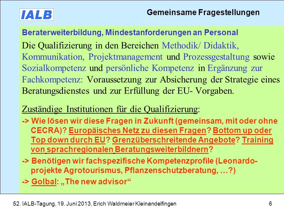 Zuständige Institutionen für die Qualifizierung:
