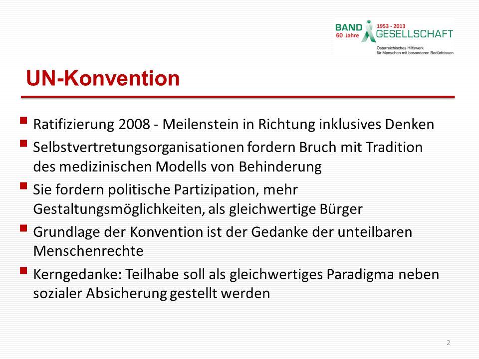 UN-Konvention Ratifizierung 2008 - Meilenstein in Richtung inklusives Denken.
