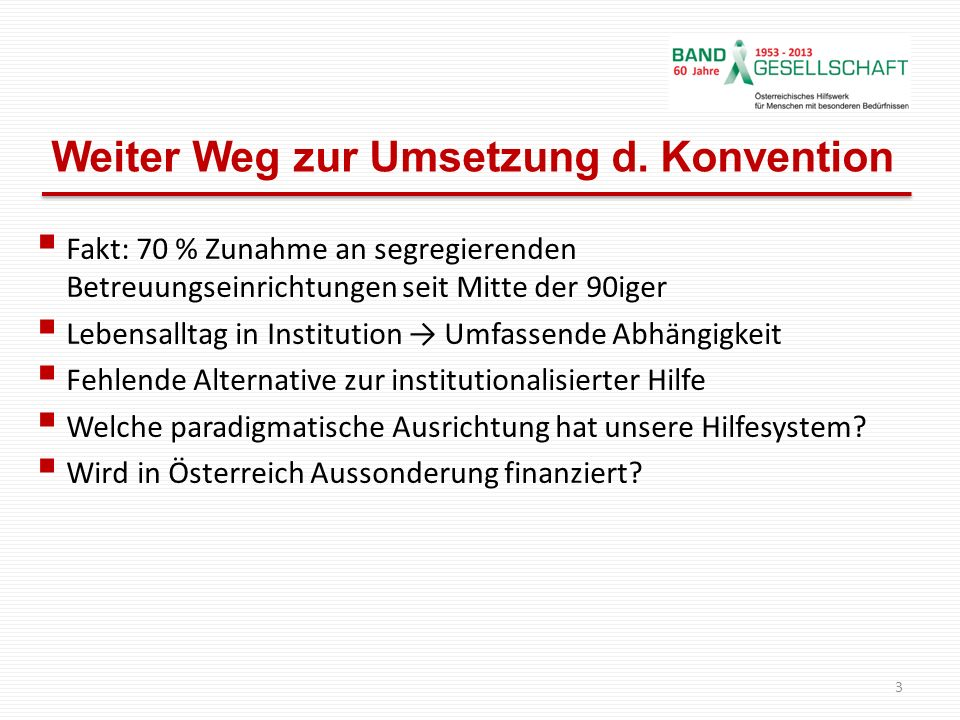 Weiter Weg zur Umsetzung d. Konvention