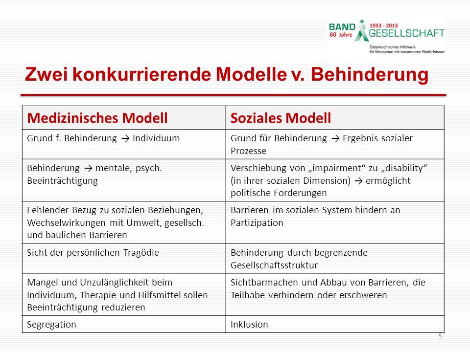 Zwei konkurrierende Modelle v. Behinderung