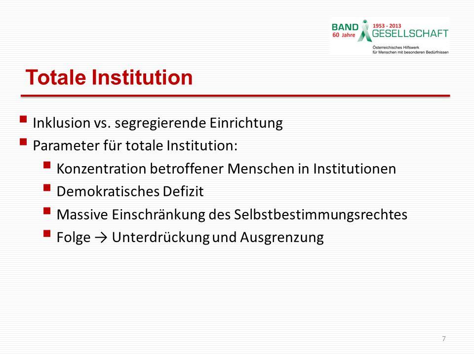 Totale Institution Inklusion vs. segregierende Einrichtung