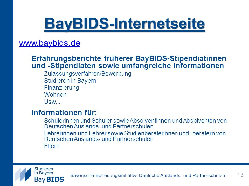 BayBIDS-Internetseite