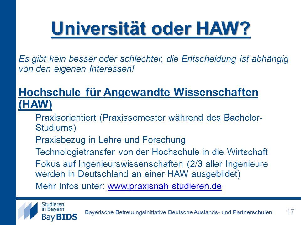 Universität oder HAW Hochschule für Angewandte Wissenschaften (HAW)