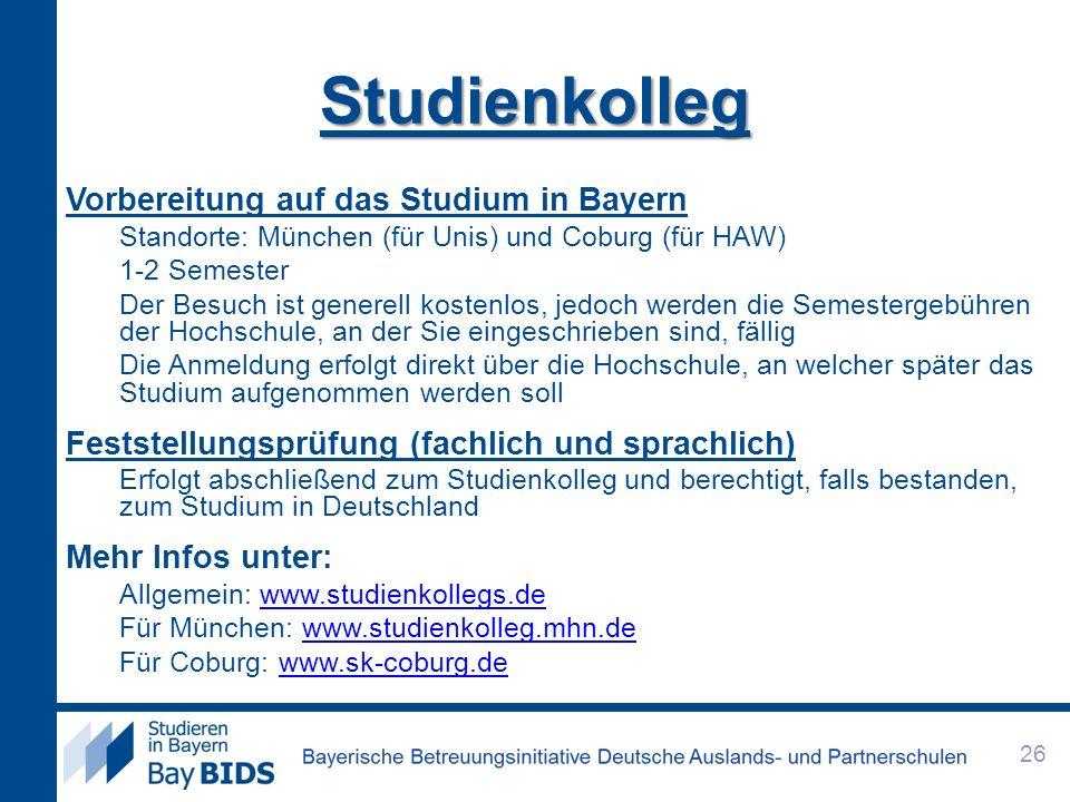 Studienkolleg Vorbereitung auf das Studium in Bayern