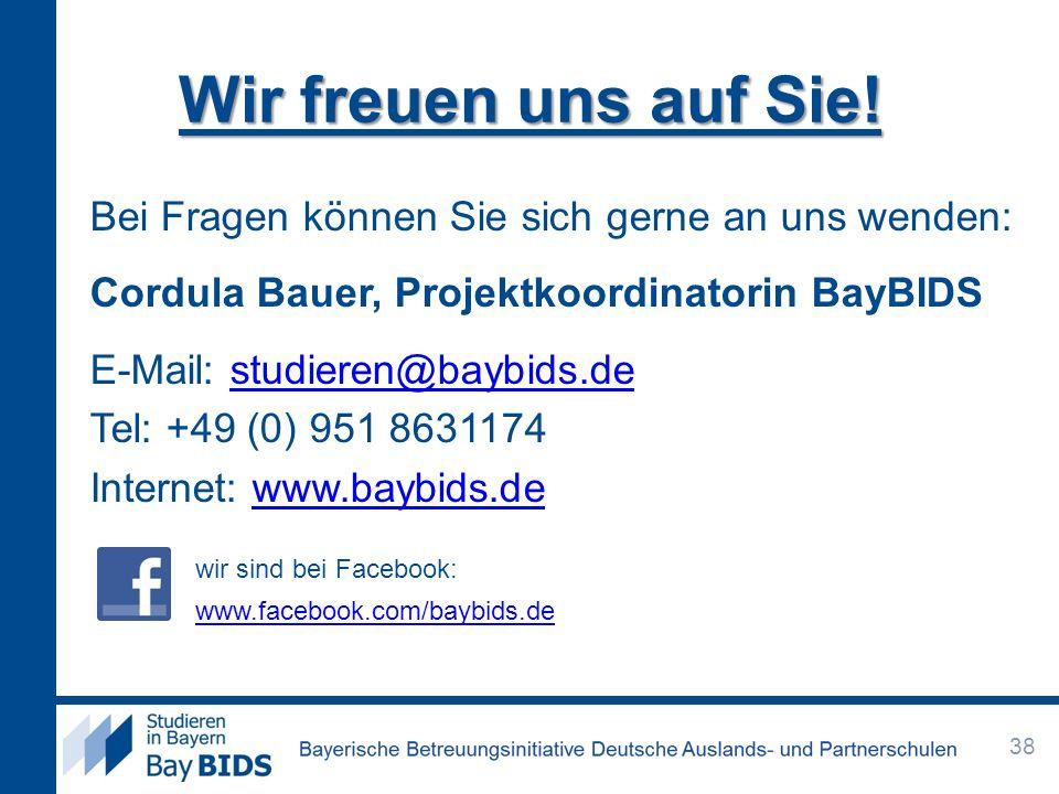Wir freuen uns auf Sie! Bei Fragen können Sie sich gerne an uns wenden: Cordula Bauer, Projektkoordinatorin BayBIDS.