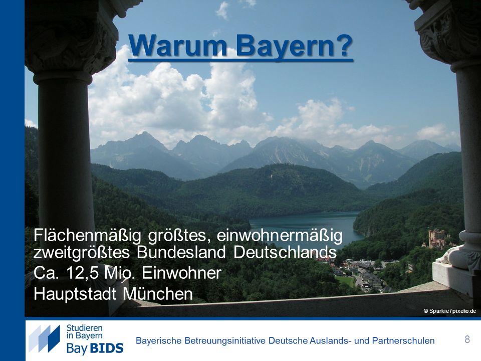 Warum Bayern Flächenmäßig größtes, einwohnermäßig zweitgrößtes Bundesland Deutschlands Ca. 12,5 Mio. Einwohner Hauptstadt München