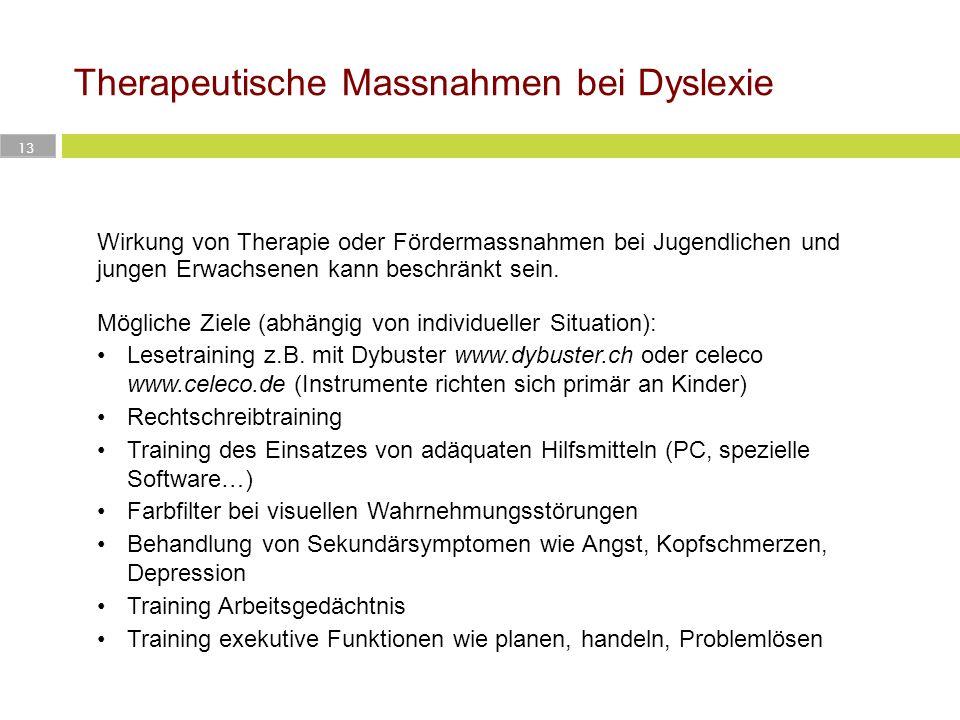 Therapeutische Massnahmen bei Dyslexie