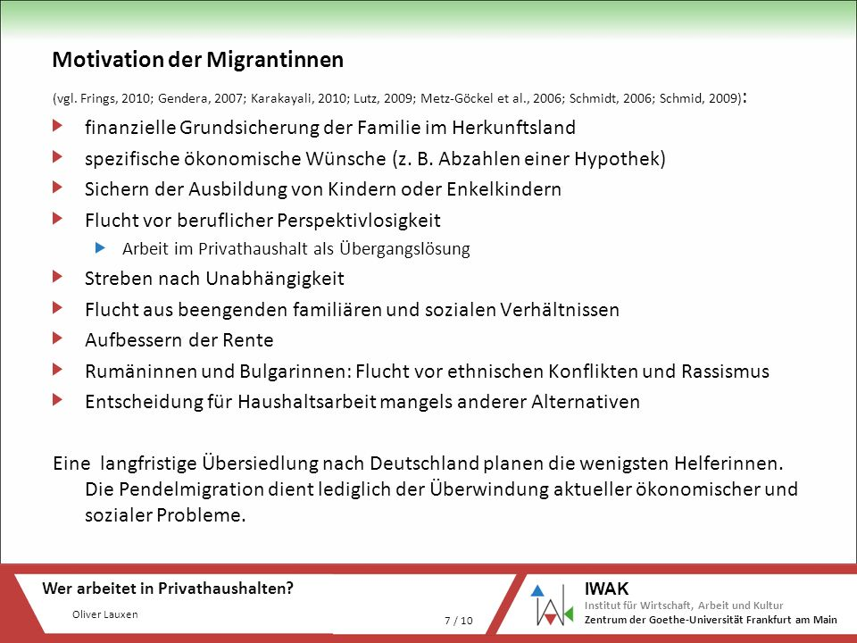 Motivation der Migrantinnen