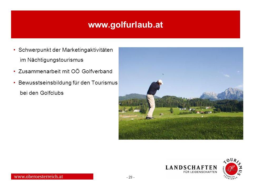 www.golfurlaub.at Schwerpunkt der Marketingaktivitäten im Nächtigungstourismus. Zusammenarbeit mit OÖ Golfverband.
