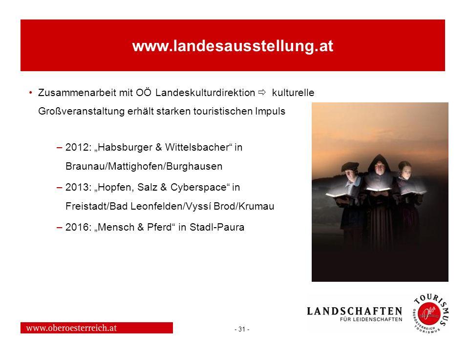 www.landesausstellung.at Zusammenarbeit mit OÖ Landeskulturdirektion  kulturelle Großveranstaltung erhält starken touristischen Impuls.