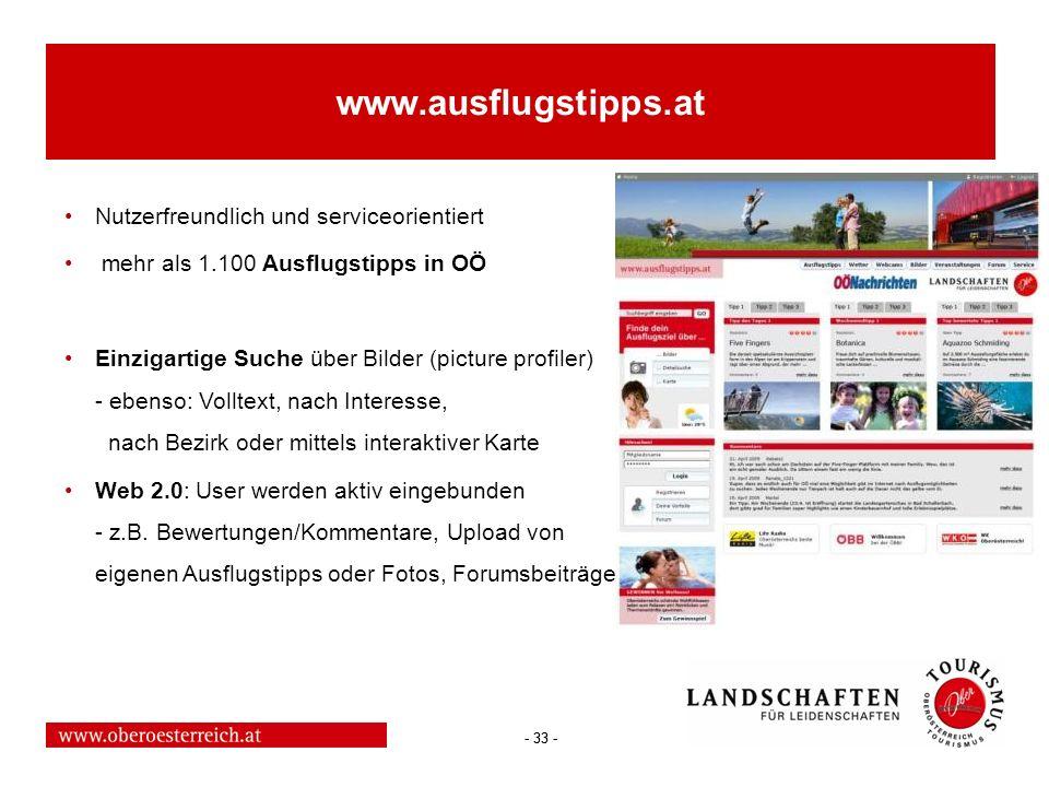 www.ausflugstipps.at Nutzerfreundlich und serviceorientiert