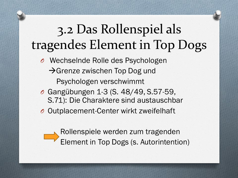 3.2 Das Rollenspiel als tragendes Element in Top Dogs