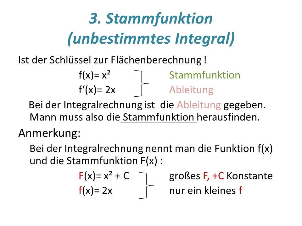 3. Stammfunktion (unbestimmtes Integral)