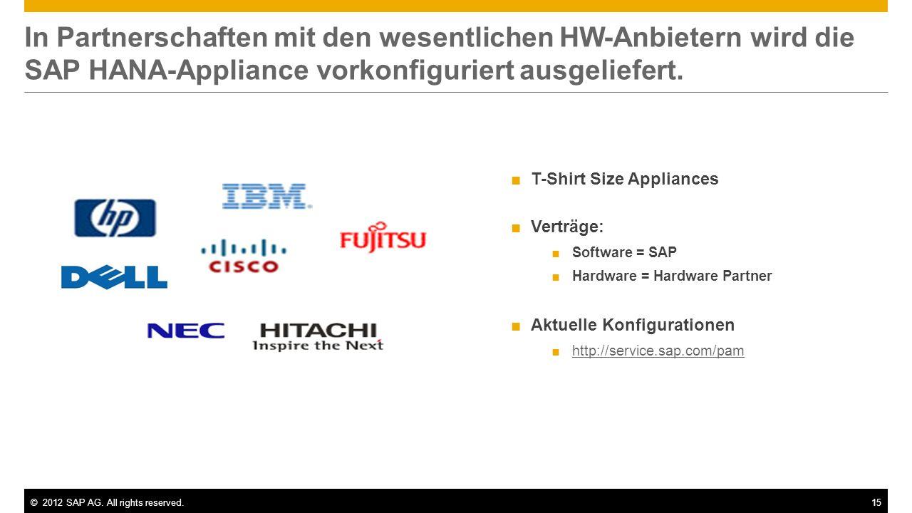 In Partnerschaften mit den wesentlichen HW-Anbietern wird die SAP HANA-Appliance vorkonfiguriert ausgeliefert.