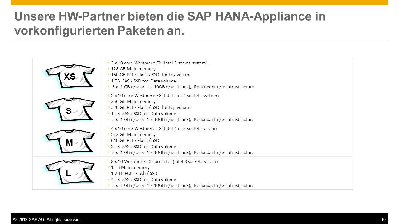 Unsere HW-Partner bieten die SAP HANA-Appliance in vorkonfigurierten Paketen an.