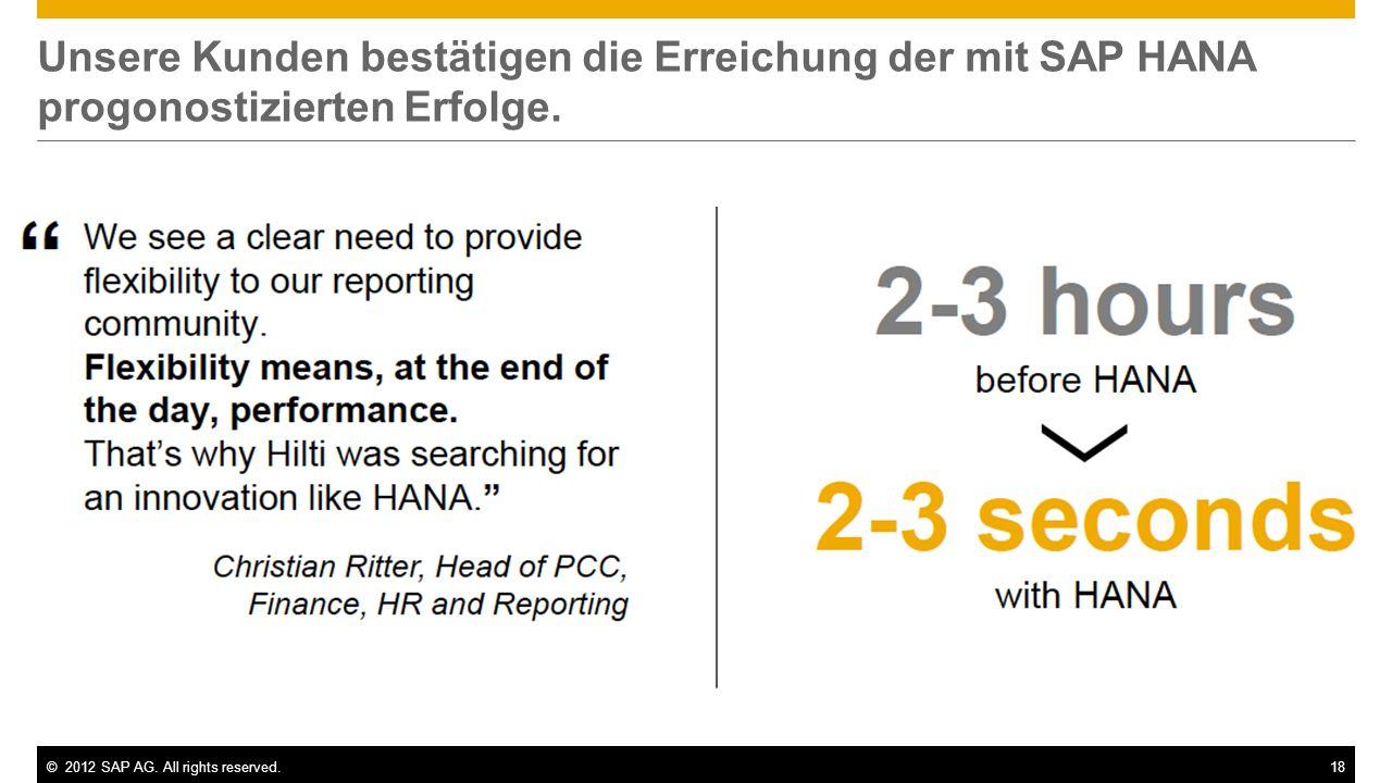 Unsere Kunden bestätigen die Erreichung der mit SAP HANA progonostizierten Erfolge.
