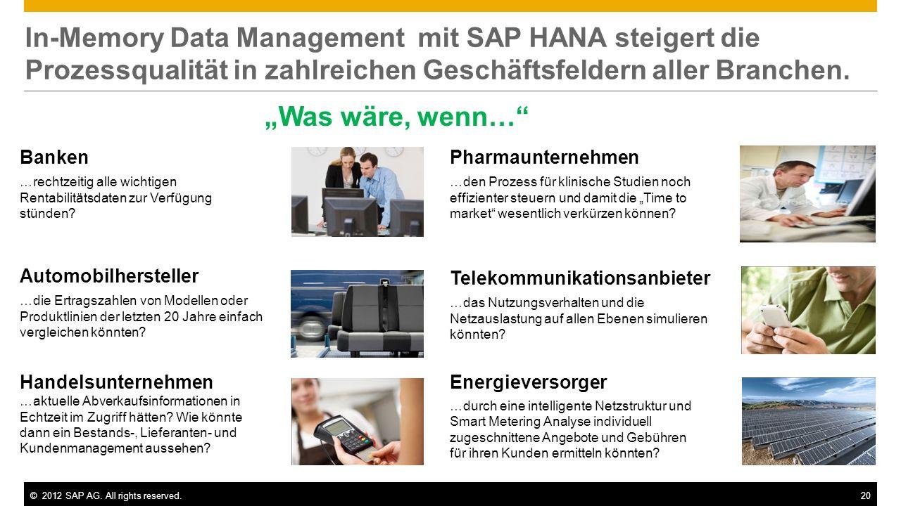 In-Memory Data Management mit SAP HANA steigert die Prozessqualität in zahlreichen Geschäftsfeldern aller Branchen.