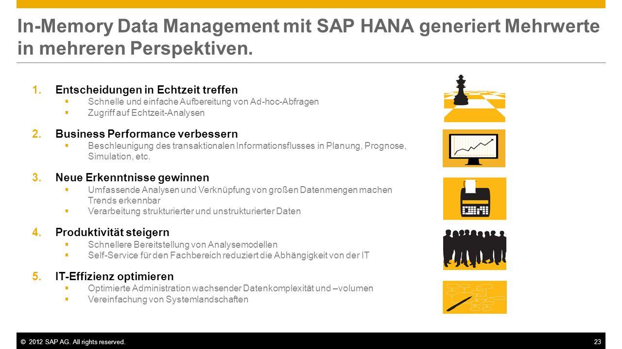 In-Memory Data Management mit SAP HANA generiert Mehrwerte in mehreren Perspektiven.