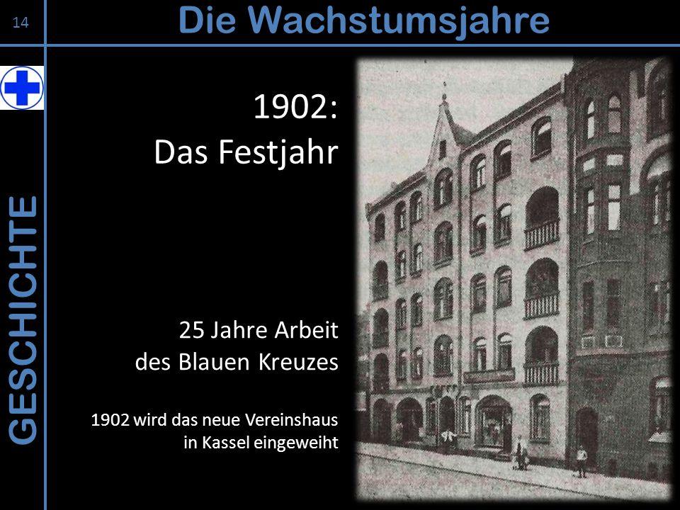 Die Wachstumsjahre 1902: Das Festjahr GESCHICHTE 25 Jahre Arbeit