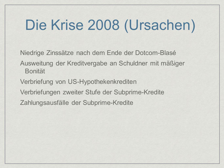 Die Krise 2008 (Ursachen) Niedrige Zinssätze nach dem Ende der Dotcom-Blasé. Ausweitung der Kreditvergabe an Schuldner mit mäßiger Bonität.