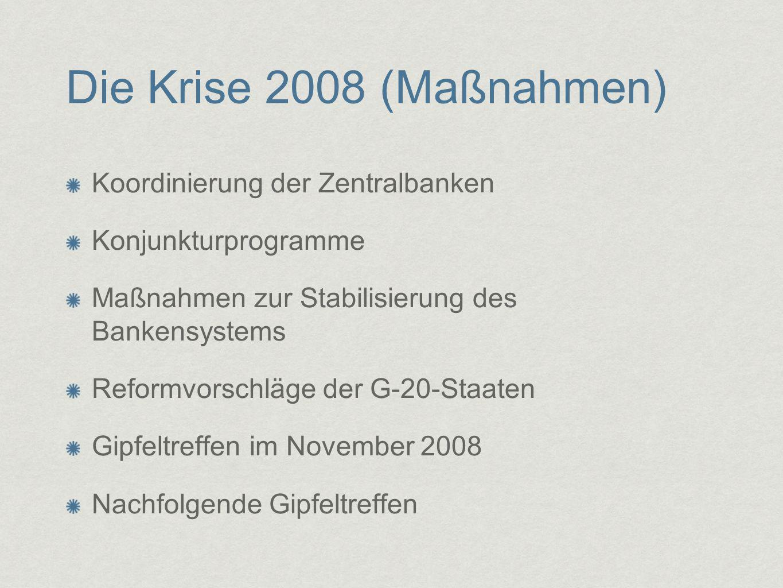 Die Krise 2008 (Maßnahmen) Koordinierung der Zentralbanken