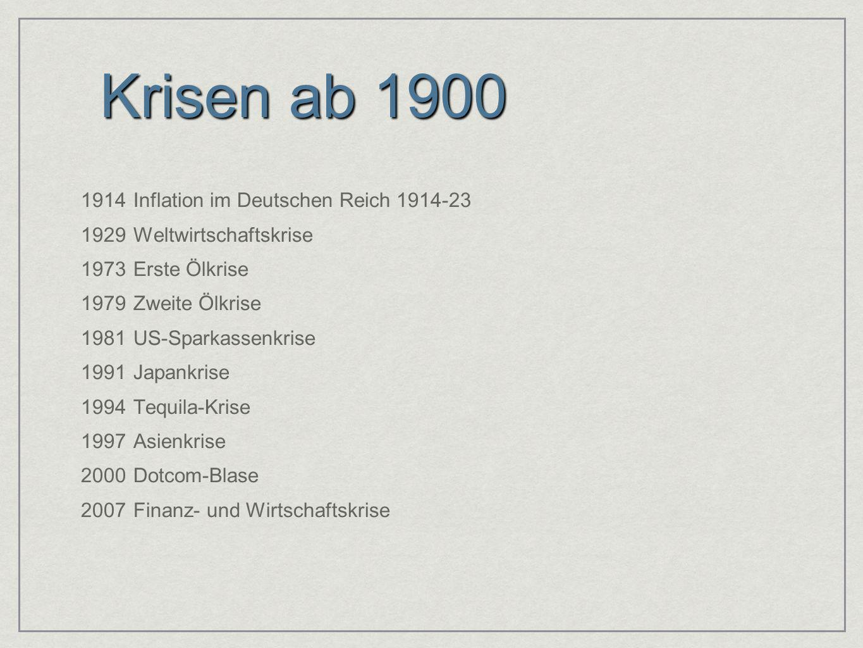 Krisen ab 1900 1914 Inflation im Deutschen Reich 1914-23