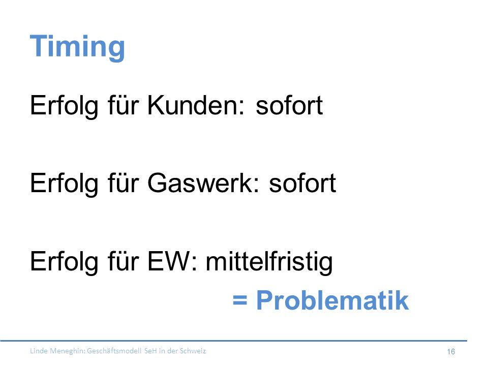 Timing Erfolg für Kunden: sofort Erfolg für Gaswerk: sofort Erfolg für EW: mittelfristig = Problematik