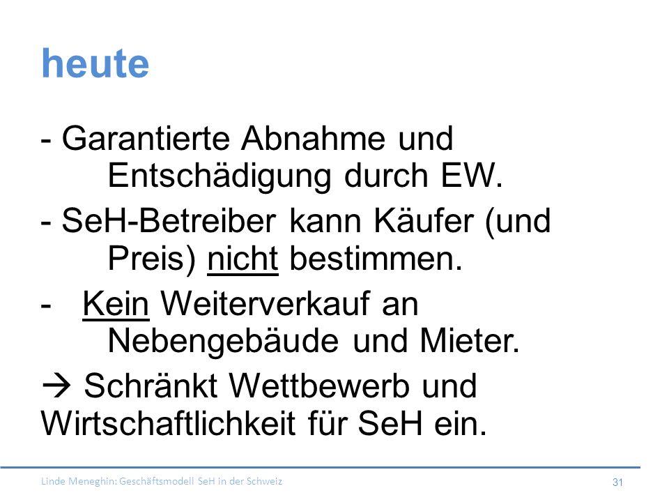 heute - Garantierte Abnahme und Entschädigung durch EW.