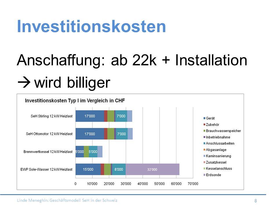 Investitionskosten Anschaffung: ab 22k + Installation wird billiger