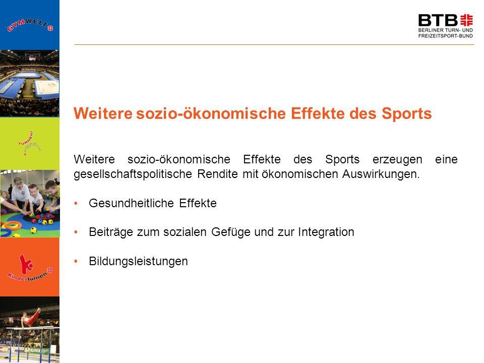 Weitere sozio-ökonomische Effekte des Sports