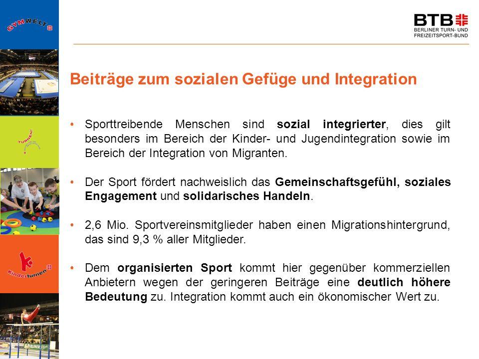 Beiträge zum sozialen Gefüge und Integration